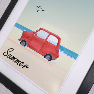 Classic Car Mini Beach Print