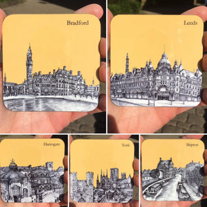 Leeds, West Yorkshire Sketched Coaster