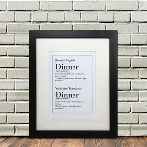 Funny Yorkshire Print Dinner Dialect