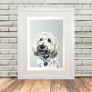 Cockapoo Dog Middle White Frame