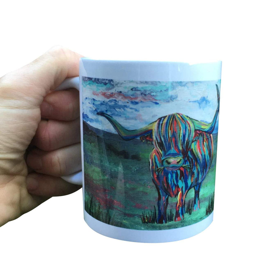 Painted Double Highland Cows Mug