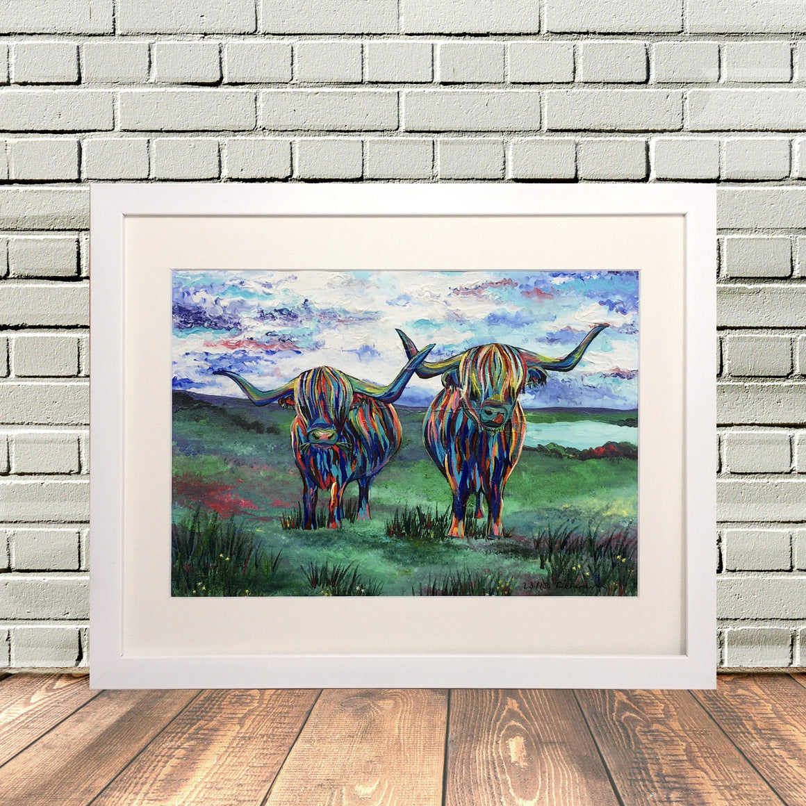 Colourful Double Highland Cow Painting Prinr