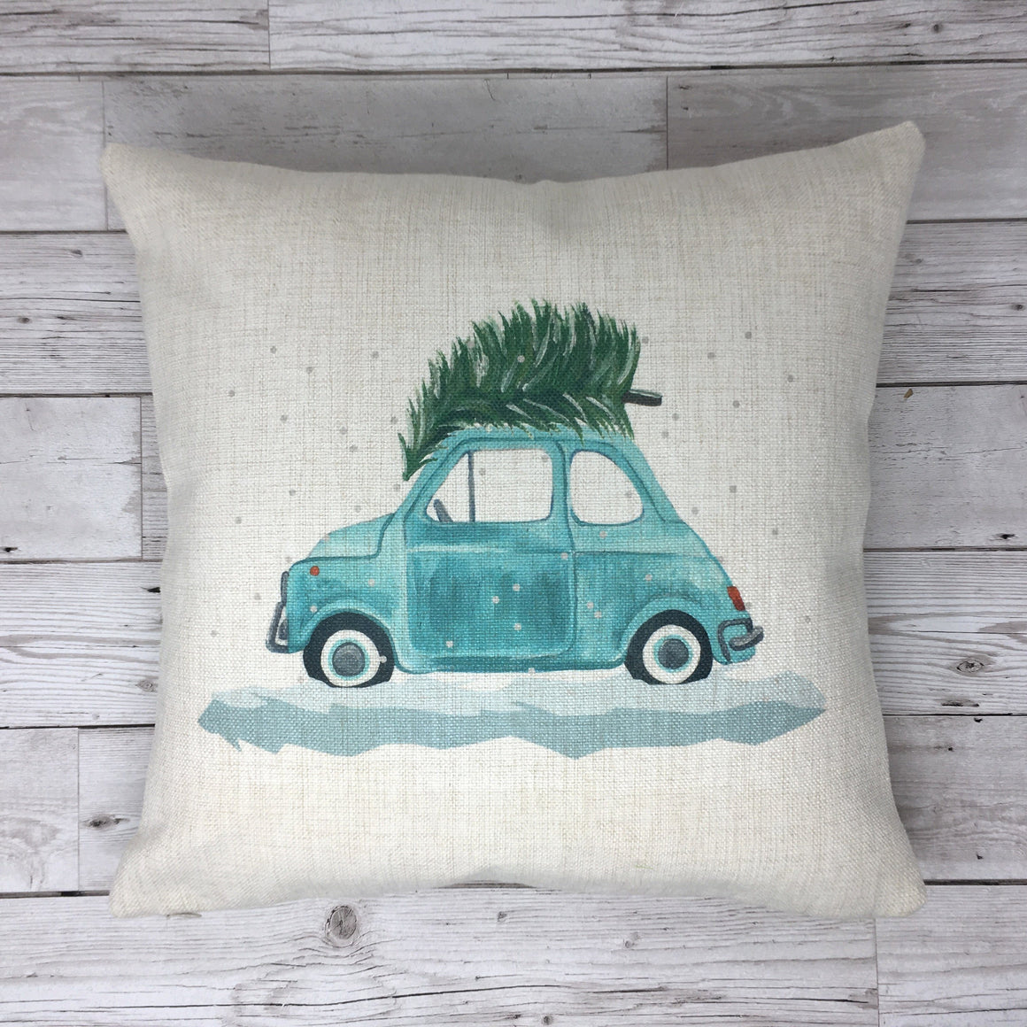 Fiat 500 Classic Car Christmas Cushion (Can be personalised)
