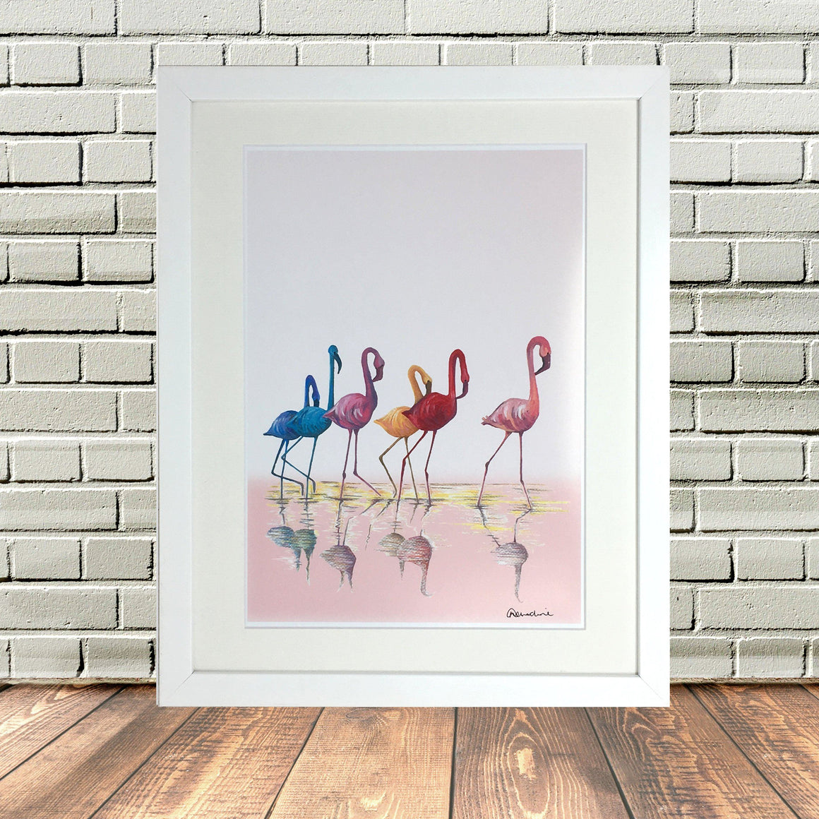 Flamingos Painted and Sketched Print