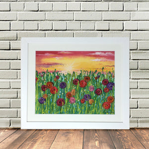 Flower Field Sunset Framed print