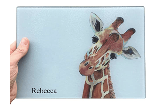 Painted Giraffe Glass Chopping Board