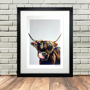 Highland Cow Picture Print Black Frame
