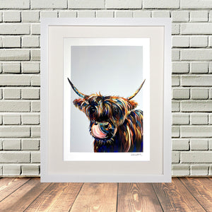 Highland Cow Picture Print White Frame