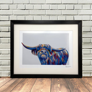 Colourful Highland Cow Painting Print