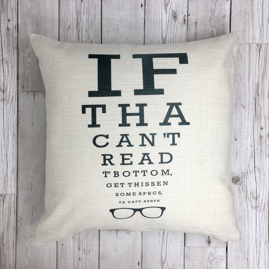 Funny Yorkshire Gift 'Optician Cushion'