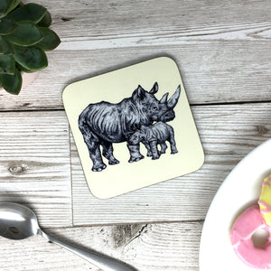 Rhino Mum and Baby Sketched Coaster