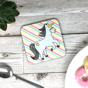 Unicorn Pink Stripes Coaster
