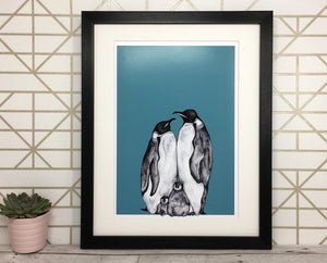 Penguin Family Sketch Print