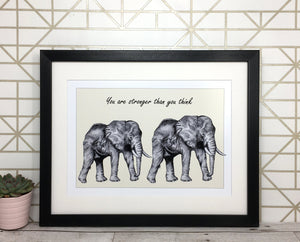 Personalised Elephants Sketch 'Stronger' Print