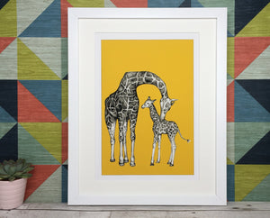 Personalised Giraffe and Baby Sketch Print