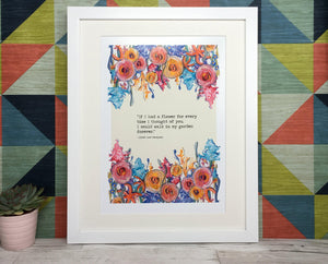 Tennyson Flowers Quote Print