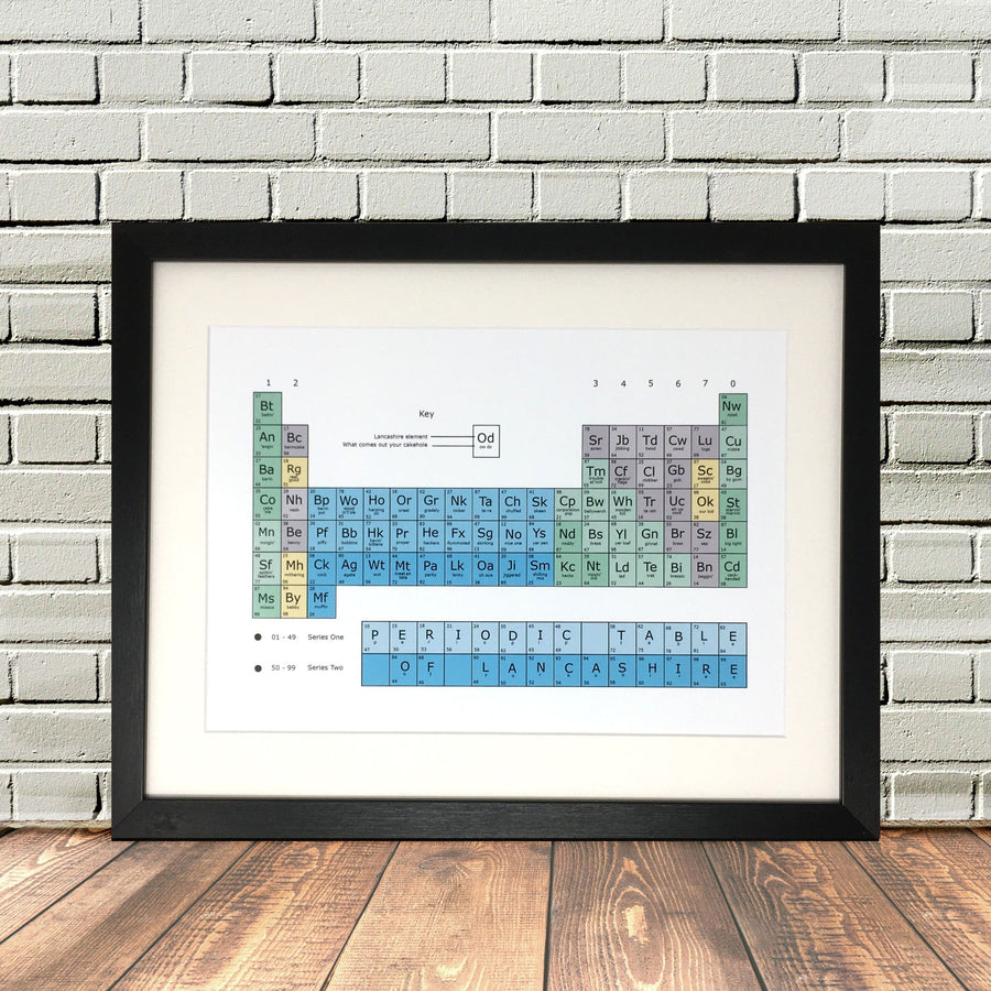 Lancashire Periodic Table Funny Print by Lighthouse Lane