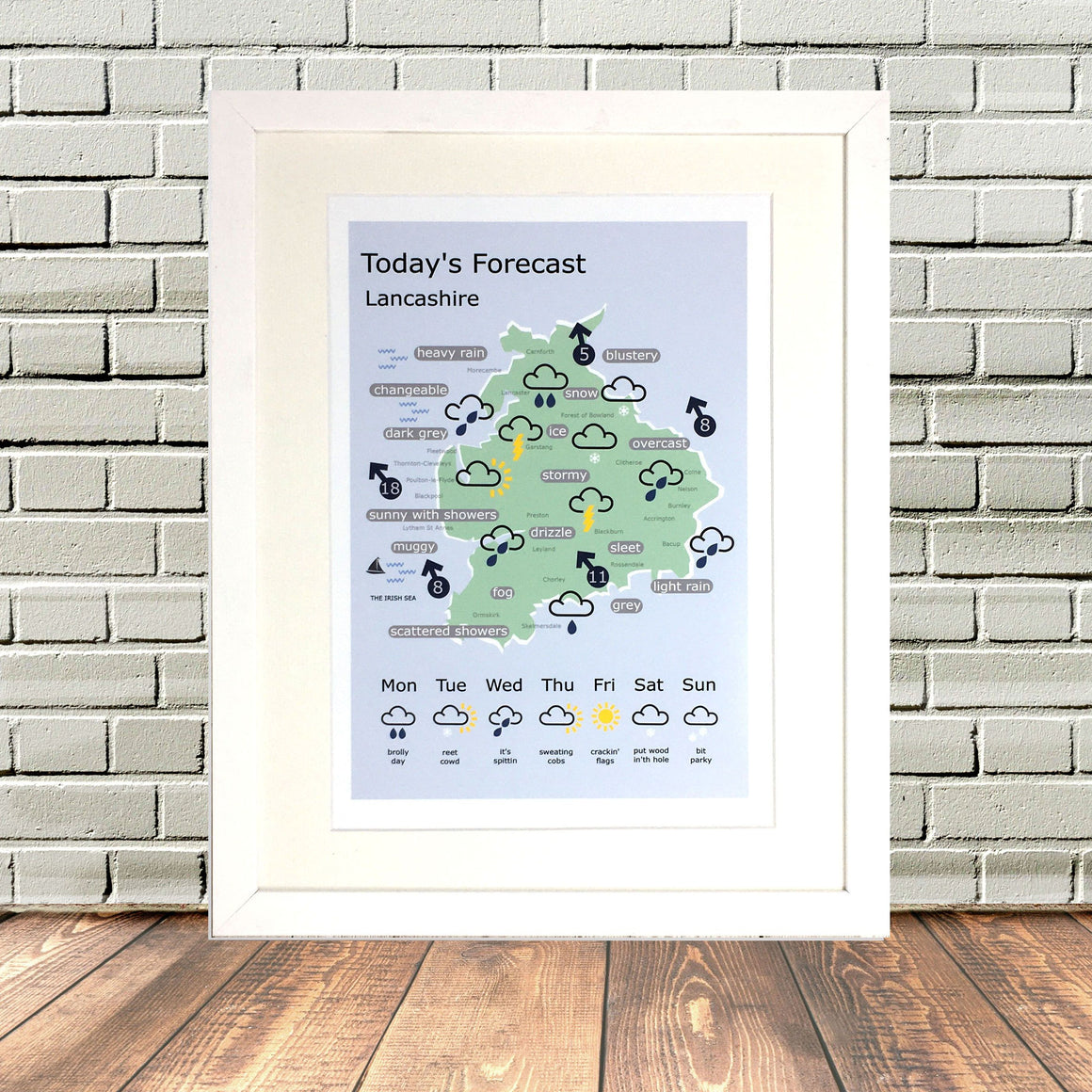 Lancashire Funny Dialect Weather Map Lighthouse Lane