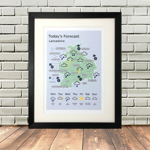 Lancashire Dialect Map Funny Lighthouse Lane Black Frame