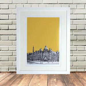 Leeds Cityscape Yorkshire Sketch White Frame