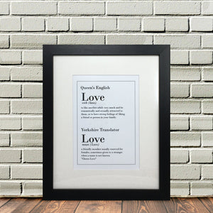 Funny Yorkshire Gifts 'Love Print'