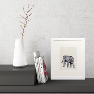 Elephant Sketch (Small Framed Print)