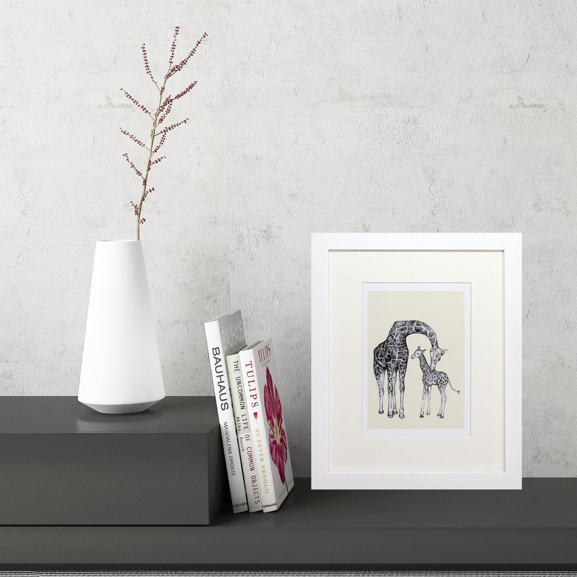 Giraffe Sketch (Small Framed Print)