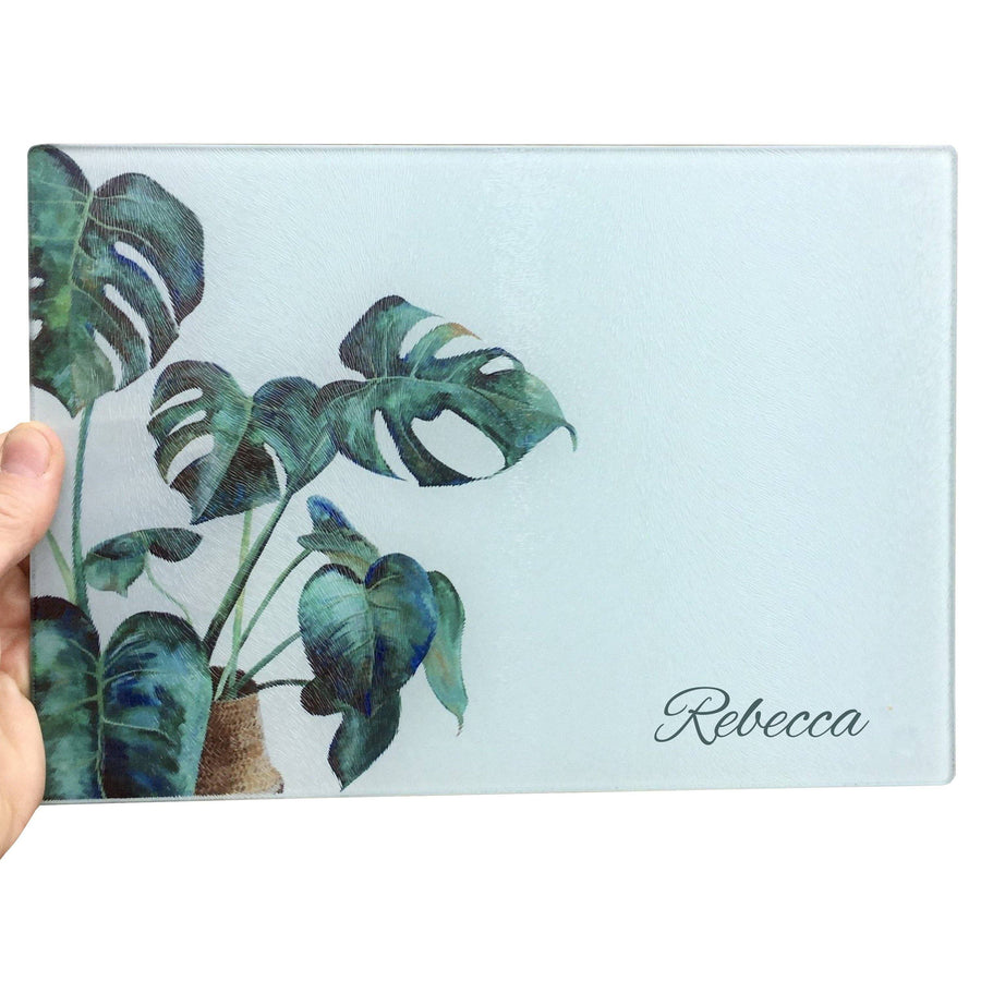 Monstera Cheese Plant Glass Chopping Board