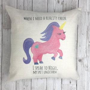 Nigel the Unicorn Funny Cushion (Can be personalised)