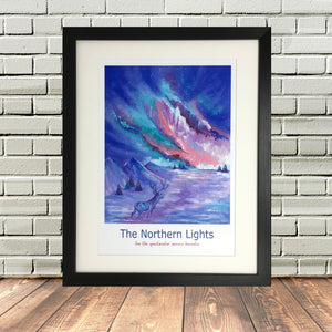 Northern Lights Iceland Painting Print