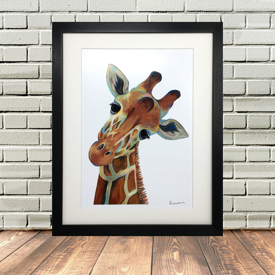 Painted Giraffe Head Print