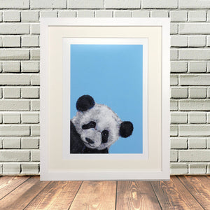 Blue Painted Panda Print