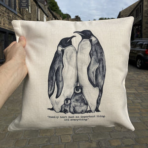 Penguin Family Cushion (Can be personalised)