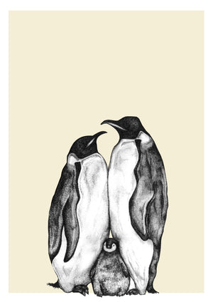 Personalised Penguin Family Sketch Print - One Child