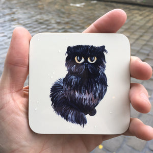 Persian Black Cat Sat Coaster