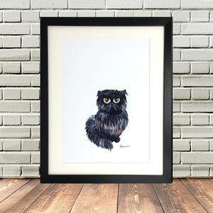Persian Cat Sat Painting Print
