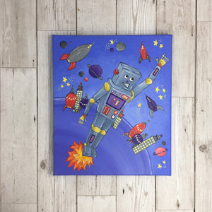 Robot Space Painting Original Artwork