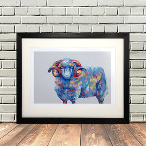 Colourful Highland Sheep Painted Print