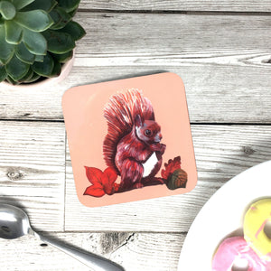 Squirrel Coaster Red