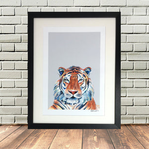 Painted Tiger Print Black Frame