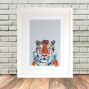 Painted Tiger Print White Frame