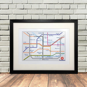 Funny Yorkshire Gifts 'Tube Print'