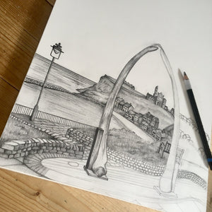 Personalised Whitby Sketch Yorkshire Print
