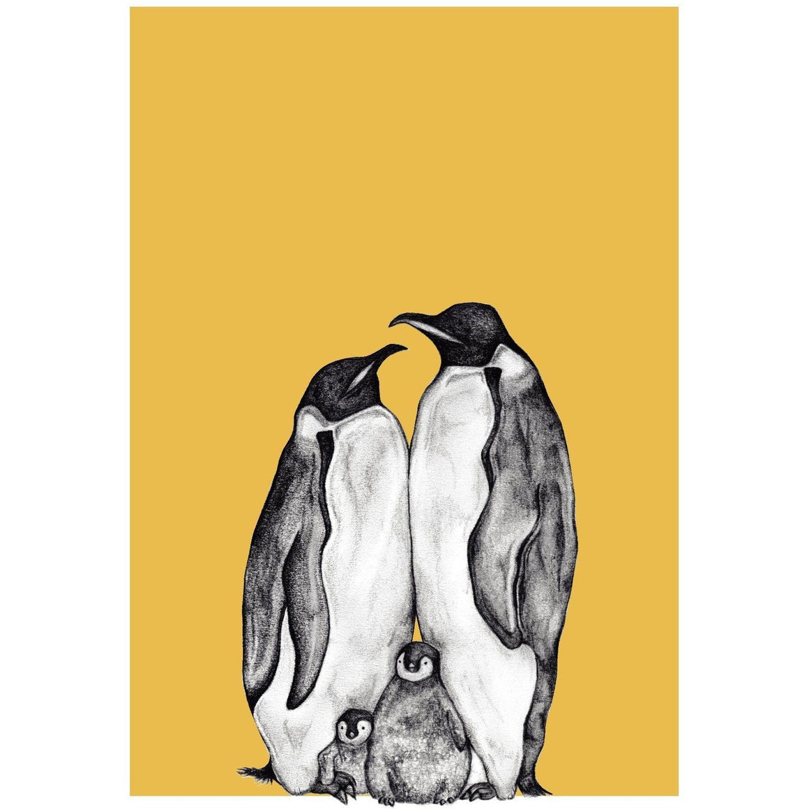 Penguin Family Sketch Print Teal