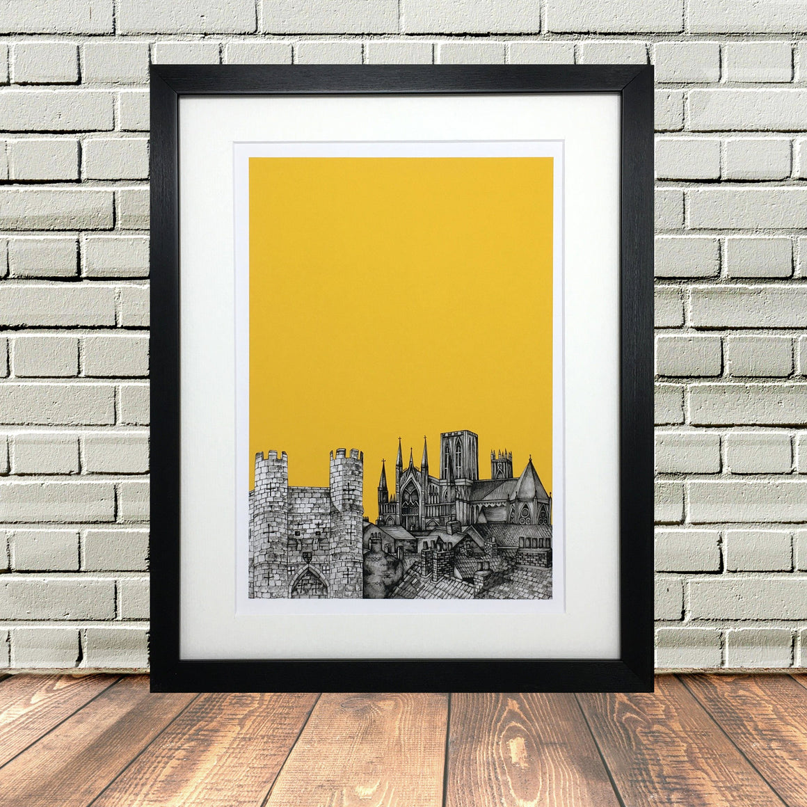 York North Yorkshire Sketch Print Yellow