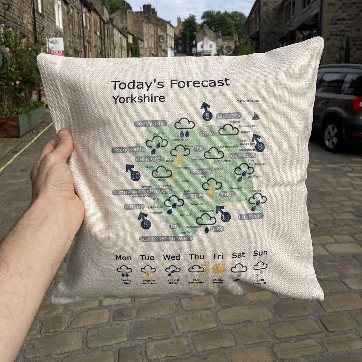 Yorkshire Weather Map Funny Cushion