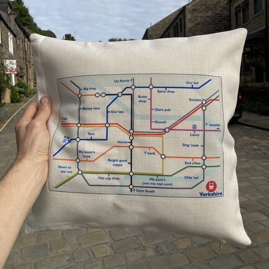Yorkshire Tube Map Funny Cushion