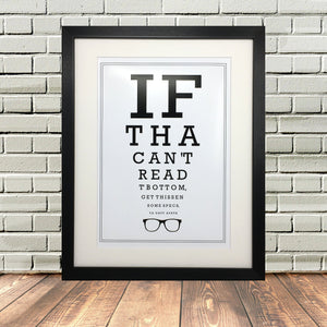 Funny Yorkshire Gifts 'Optician Print'