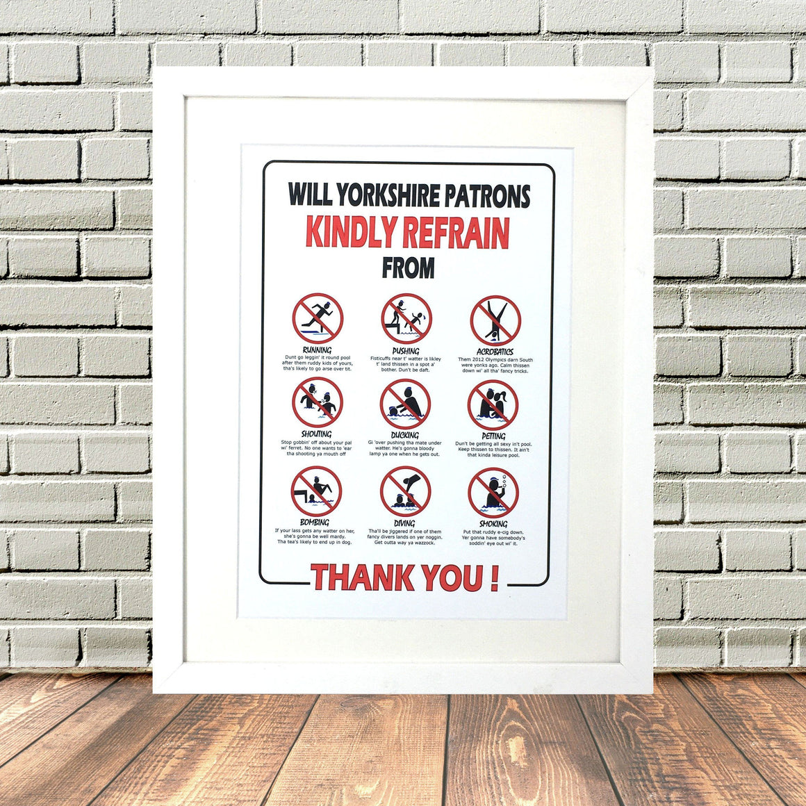 Yorkshire Swimming Sign Print