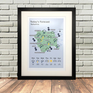 Yorkshire Weather Forecast Map Print